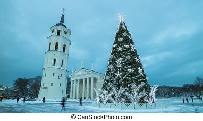 Christmas tree on Cathedral Square in Vilnius, Lithuania,...