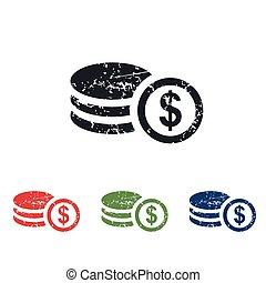 Dollar rouleau grunge icon set - Colored grunge icon set...