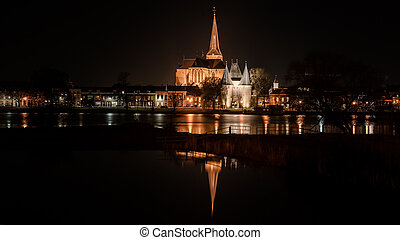 Night Pictures of the historical city Kampen, Overijssel,...