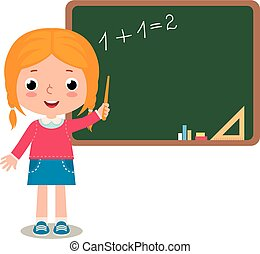 Child girl pupil - Vector cartoon illustration of a Child...