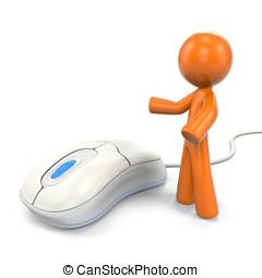 3D Orange Man Displaying A Computer Mouse - 3D Orange Man...