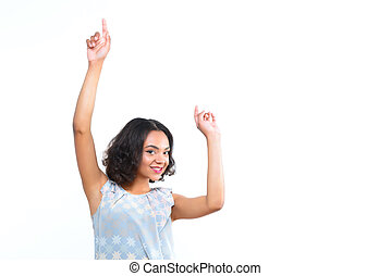 Smiling mulatto girl dancing on isolated white background -...