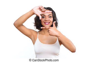 Mulatto lady showing frame with her fingers - Behind scenes....