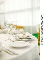 Place settings at a banquet