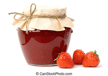 Strawberry jam jar - Homemade strawberry jam in a jar...