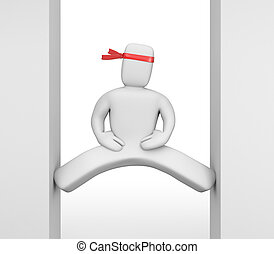 3d white character doing the splits - White character with a...