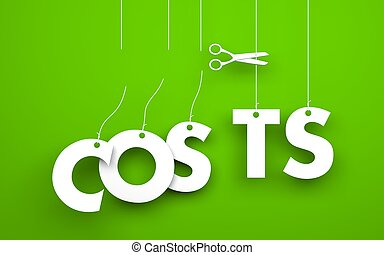 Scissors cuts word COSTS - Symbolizes discounts and prices...