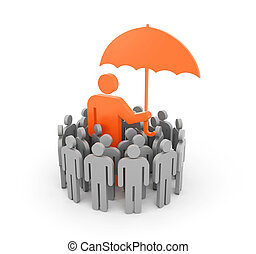 A man with umbrella, protects a group of people - The...