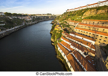 Top View of Douro river at Porto, and right coast - Vila...