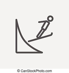 Skier jump in the air thn line icon - Skier jump in the air...