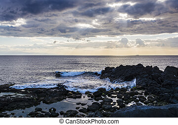 Sky with clouds over the sea at Giardini-Naxos, Sicily,...