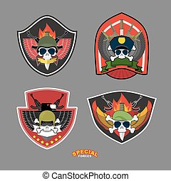 Set military and armed labels logo. Vector illustration. Skull, Eagle and weapons.