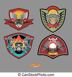 Set Army logo Vector illustration Arms and wings