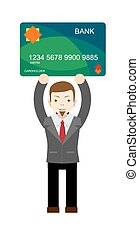 Office worker holding a bank card Stock vector illustration...