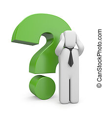 Businessman with green question mark - Image contain the...