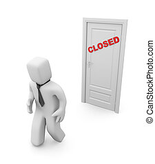 3d person and closed door