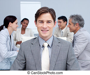 Confident businessman in a meeting