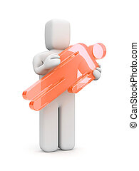 3d person carry glass silhouette of people