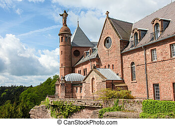 Mont Saint-Odile in the Vosges mountains in Alsace, France -...