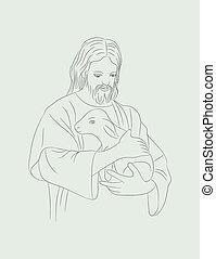Christ with sheep, art vector sketch design