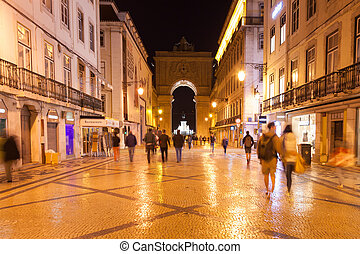 Augusta street by night near commerce square in Lisbon ,...
