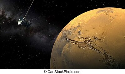 Cassini orbiter passing Mars - Unmanned spacecraft similar...