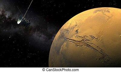 Cassini orbiter passing Mars - Unmanned spacecraft similar...