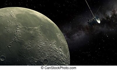 Cassini orbiter passing Moon - Unmanned spacecraft similar...