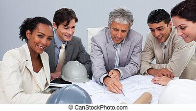 estudiar, reunión, planes, Arquitectos