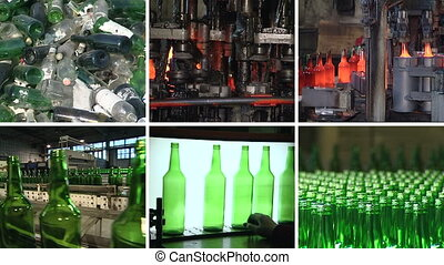 bottle production collage - Collage montage of video footage...