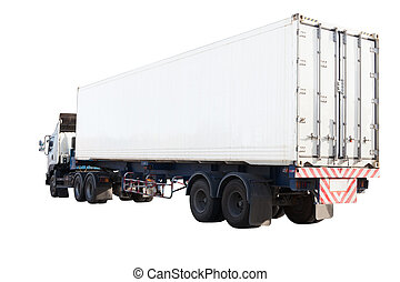 white container truck isolated background use for industry...