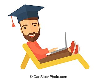 Man with laptop on the beach - A young man sitting, wearing...