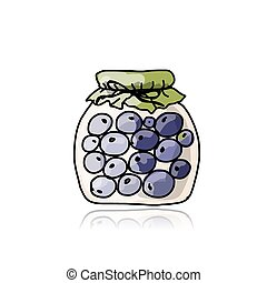 Jar with blueberry jam, sketch for your design