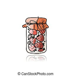 Jar with strawberry jam, sketch for your design