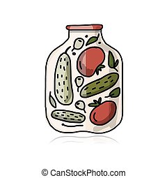 Bank of pickled vegetables, sketch for your design. Vector...