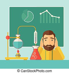 Science teacher in laboratory - A science teacher with...