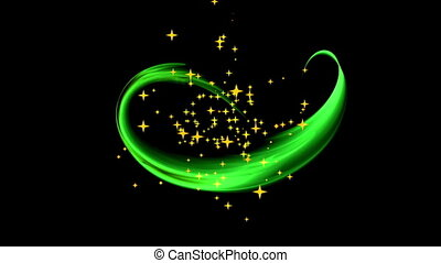 Festive Background With Stars - dynamic green rotational...