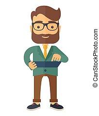 Mid adult male engineer holding blueprint. - A mid adult...