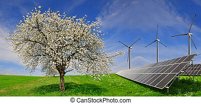 Solar panels with wind turbines - Solar energy panels with...