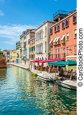 Scenic canal with italian restaurant, Venice - Scenic canal...