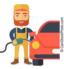 Gasoline boy filling up fuel. - A happy hipster gasoline boy...