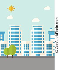Buildings with trees - A buildings with trees under the sun...
