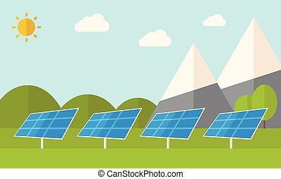 Four solar panels. - Four solar panels standing under the...