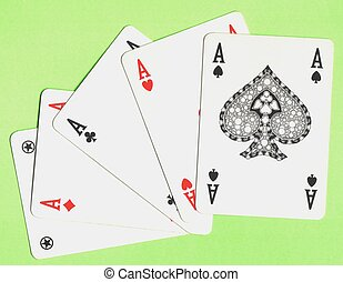 poker aces - playing cards, four aces on green carpet