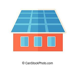 House with solar panels - A house with solar panels on the...