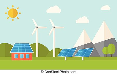 House with solar panels and wind mills.