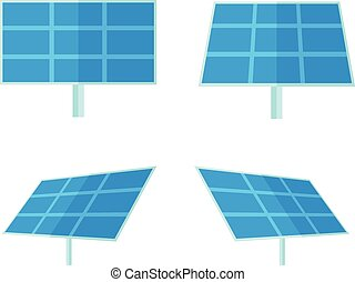 Four solar panels with white background - Four solar panels...