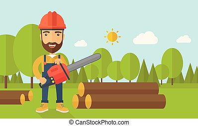 Lumberjack cuts a tree by chainsaw - Lumberjack with hard...