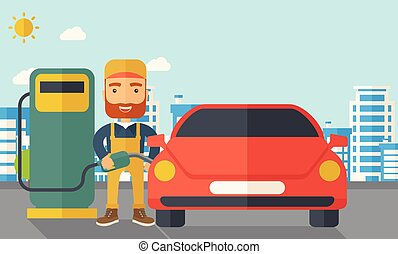Gasoline boy filling up fuel. - A happy hipster gasoline boy...