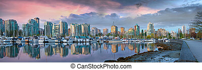 Vancouver BC Skyline at Stanley Park during Sunrise Panorama...